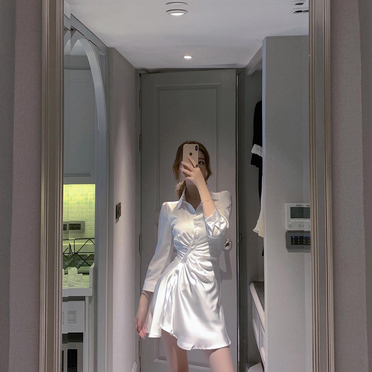ByYou 夏季衬衫领白色绸缎连衣裙女设计感气质收腰显瘦不规则裙子