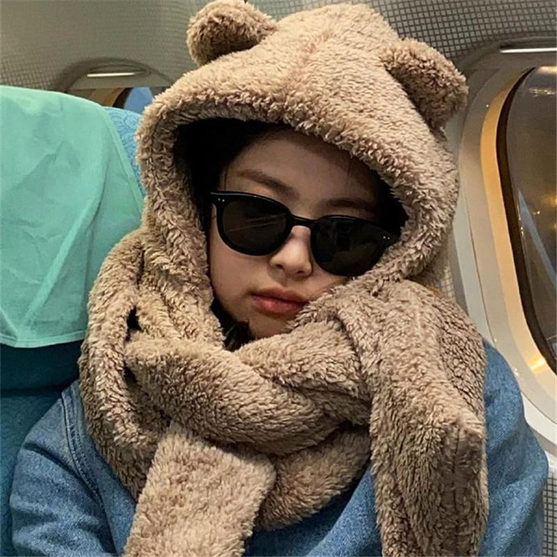 小熊护耳朵帽子围巾手套一体女骑车毛绒保暖防寒