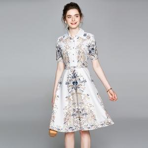 白领女装时尚气质 翻领短袖印花 连衣裙夏2020新款女士欧美跨境