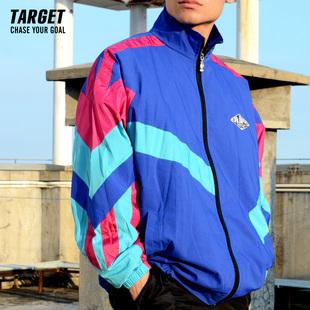 TARGET 80s 运动日系古着男风衣外套 复古宽松袖 拼接玫红黑 BBOY