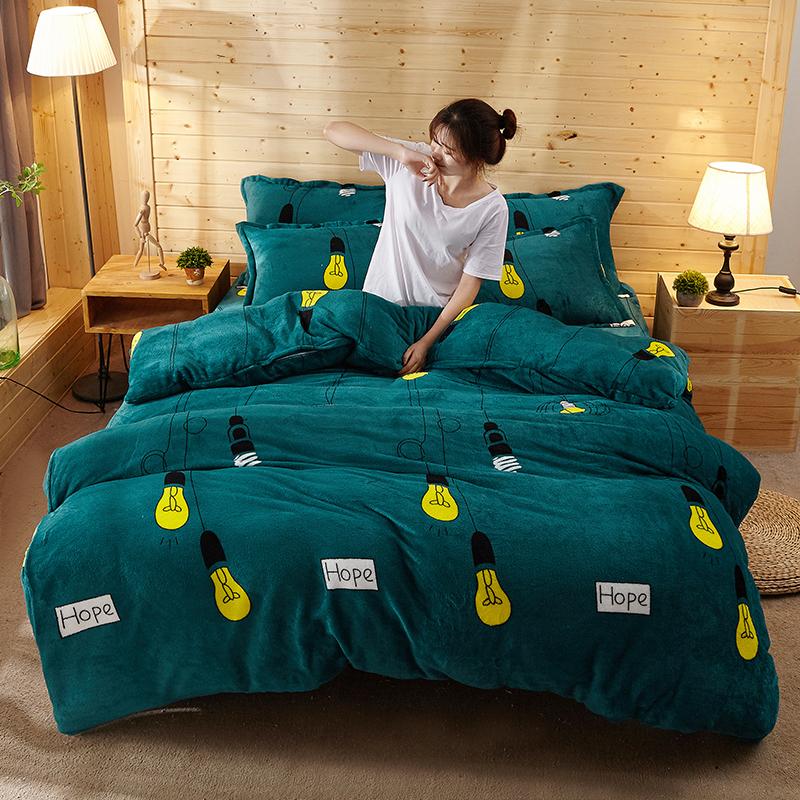 法莱绒四件套冬季保暖水晶绒珊瑚绒四件套单双人加厚被套床单枕套