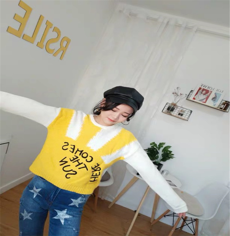 [Earth Store] yellow pattern short woolen sweater womens winter Pullover Sweater