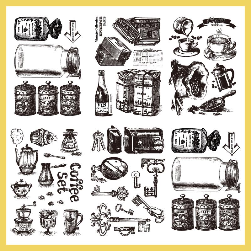 手帳透明印章透明硅膠印章復古瓶子咖啡鑰匙咖啡機旅行手賬印章