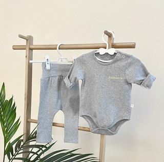 婴儿纯棉衣服男女宝宝长袖三角哈衣套装新生儿连体衣服春秋套装
