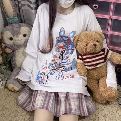 实拍控价+3 原宿风日系女孩二次元可爱卡通动漫印花长袖打底衫