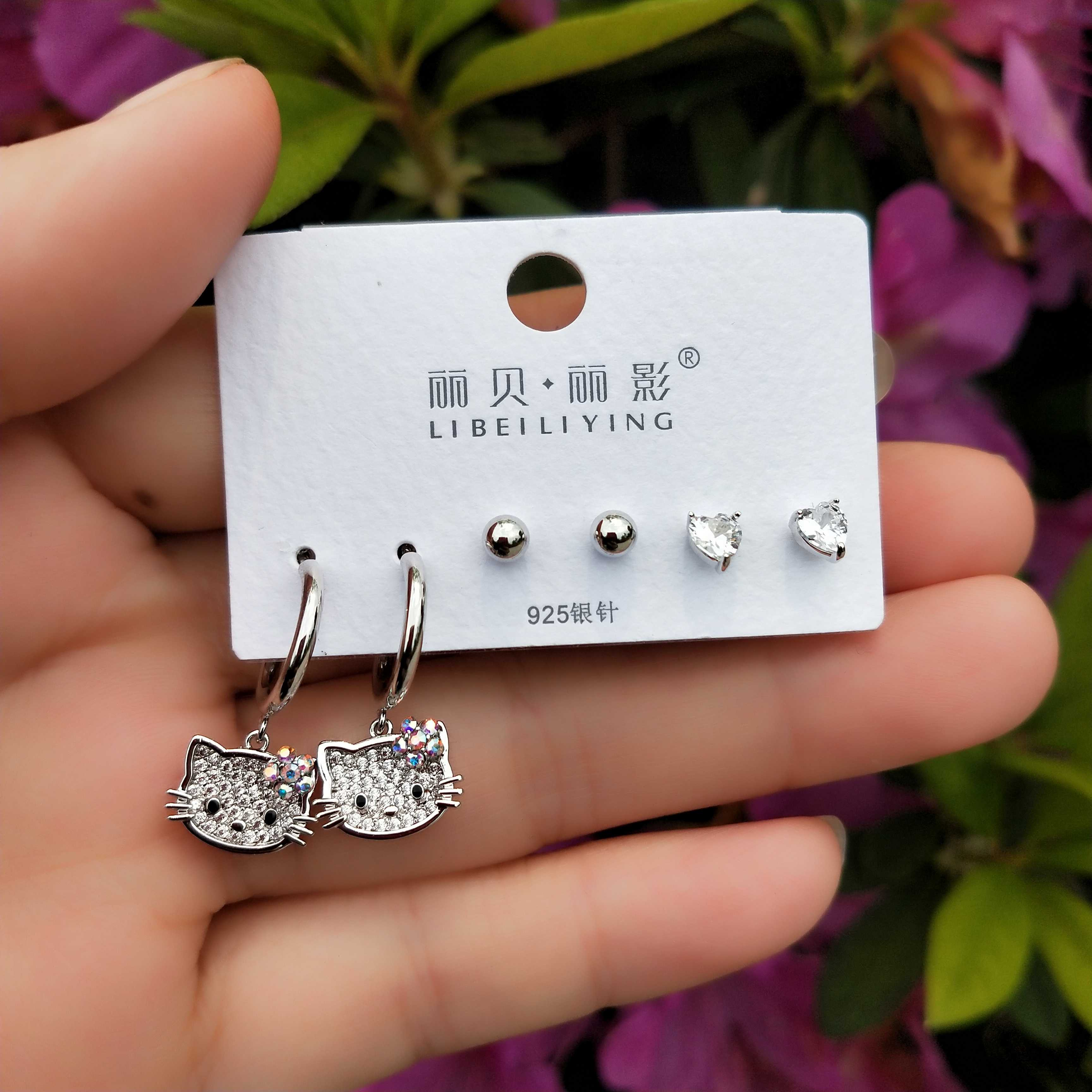 Rebecca shadow jewelry one card three pairs of 925 Sterling Silver Needle Earrings Cute Cat Earrings student party female Earrings