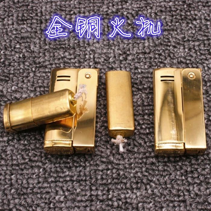 纯铜爱酷6800全铜煤油防风打火机异形内胆战壕古董收藏燃油打火机