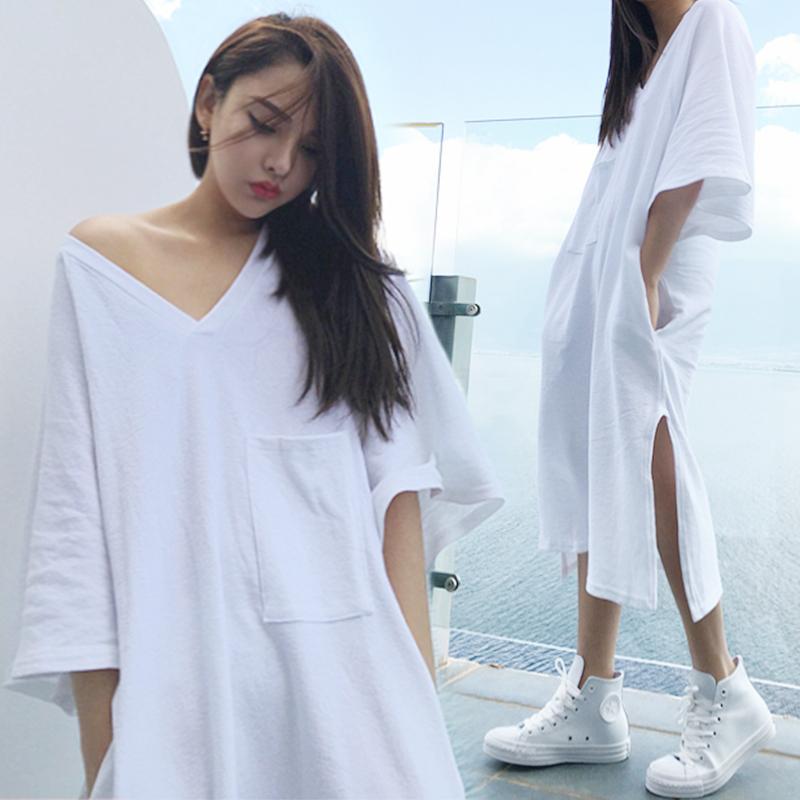 睡裙女夏季纯棉韩版连衣裙睡衣中袖t恤V领性感长裙可外穿春季白色