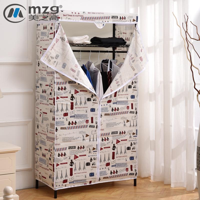 Прекрасный это высокий льняная ткань ткань гардероб легко стальная полка сборка простой современный экономического типа с колес двойной гардероб
