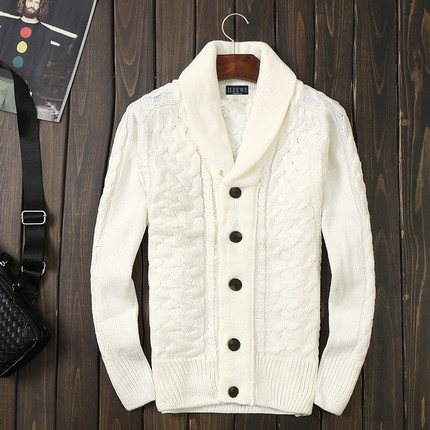 Winter mens pure white cardigan sweater slim type thickened sweater twist Lapel bottom coat sweater mens fashion