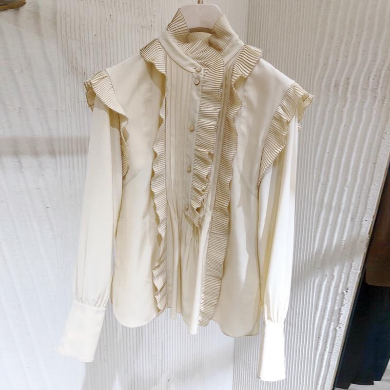 2019春夏新款女装复古宫廷风立领木耳边长袖百搭宽松长袖雪纺衬衫