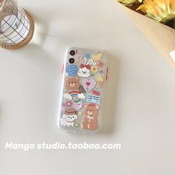 ins可爱小熊透明软壳iPhone11promax苹果12/8p华为小米全包手机壳