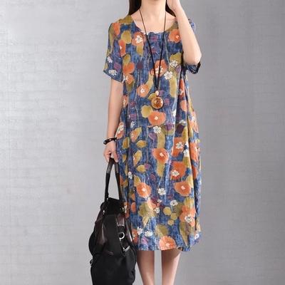 2020夏季新款女装文艺宽松短袖亚麻中长裙大码显瘦印花棉麻连衣裙