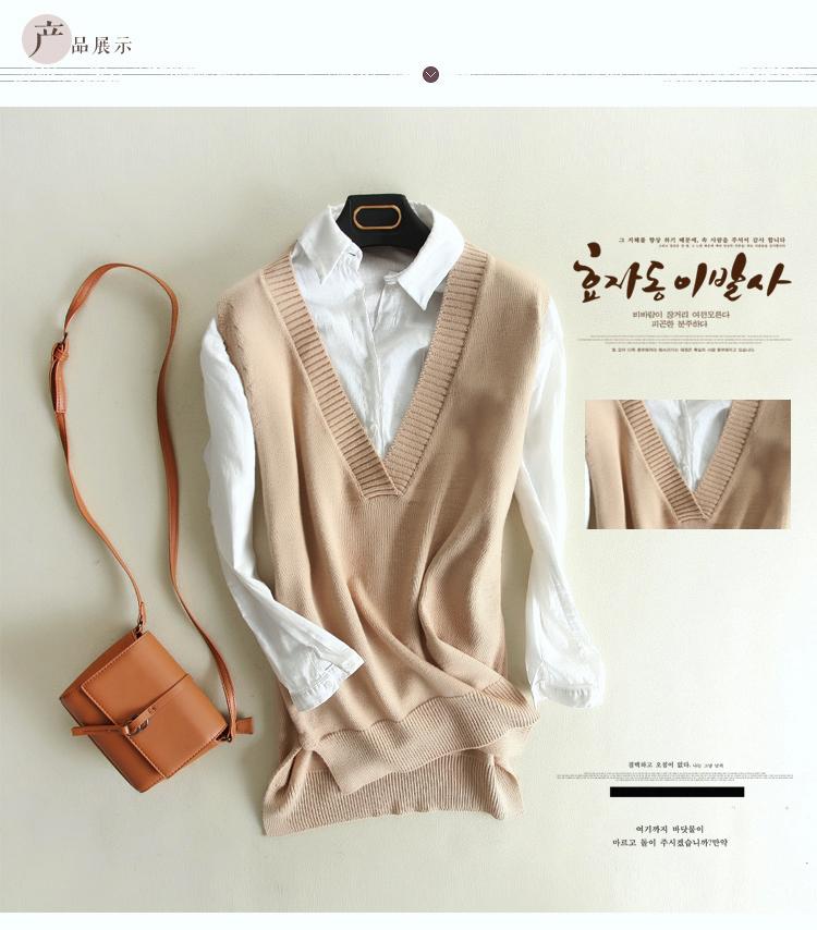 2017 spring and summer new wool vest large V-neck split knitted vest womens loose sleeve with shoulder