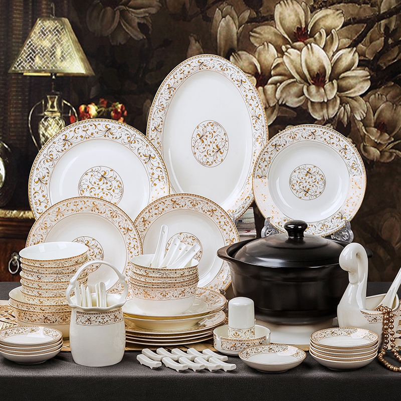 Bowl and dish set tableware household Jingdezhen European authentic bone china bowl and chopsticks ceramic utensils dinner set bowl and plate combination