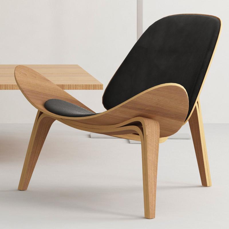 Нордический простой самолет оболочка улыбка шезлонг диван стул случайный офис комната один домой спинка бездельник стул