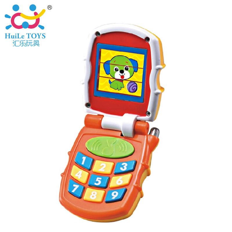 彙樂嬰兒仿真翻蓋電話兒童音樂手機1~3歲寶寶早教啟蒙益智玩具766