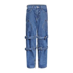 2020年新款秋冬開叉工裝牛仔褲拖地直筒寬鬆高腰顯瘦顯高褲子女