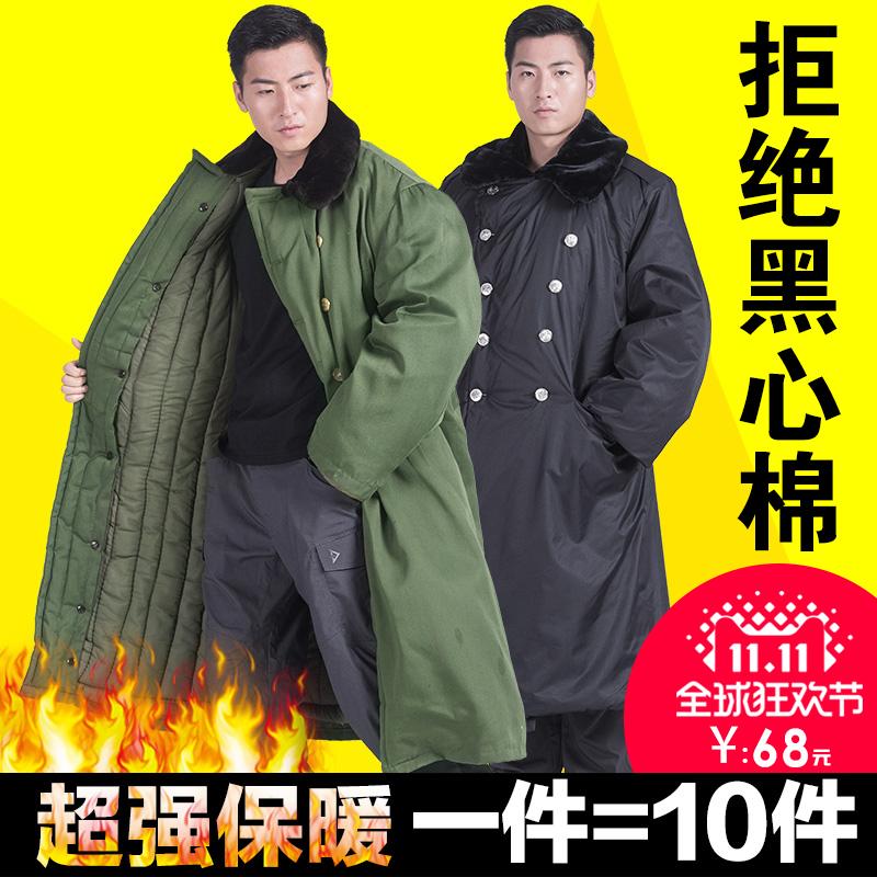 Армия пальто хлопок мужской одежды зимний уплотнённый длинная модель безопасность пальто желтый холодный одежда army green подлинный ватник подбитый