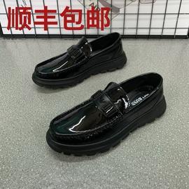 新款漆皮厚底休闲皮鞋潮男鞋百搭英伦鞋子懒人一脚蹬亮皮豆豆鞋男