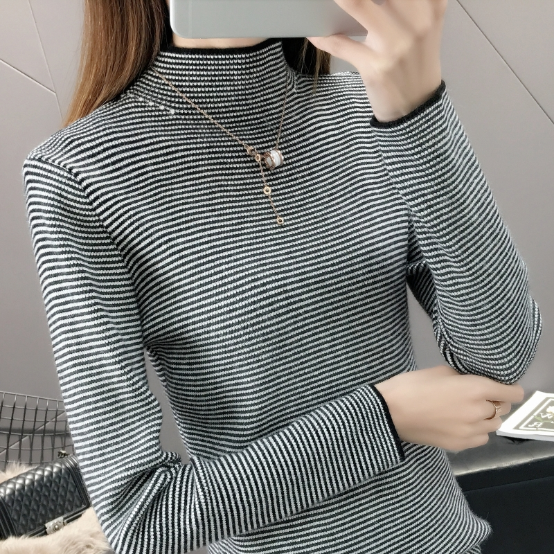 Autumn winter Korean new black and white pinstriped high necked sweater with slim long sleeve sweater on womens Pullover