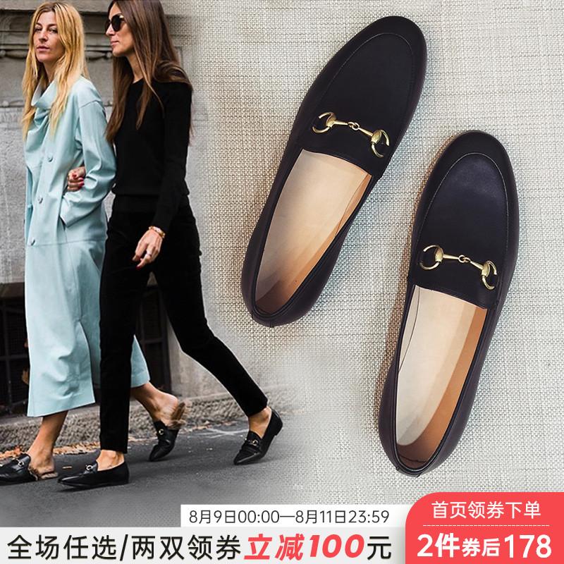 乐福鞋女2020夏款平底新款单鞋一脚蹬英伦女鞋爆款黑色小皮鞋百搭