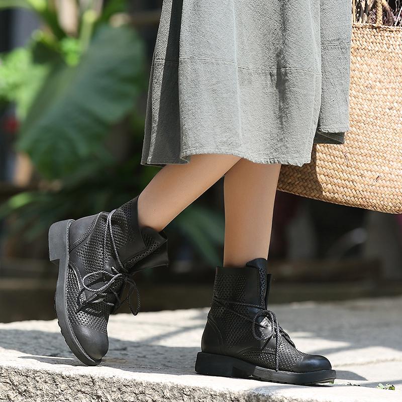 2019春夏新款头层真牛皮凉靴 休闲系带镂空洞洞鞋圆头粗跟女凉鞋