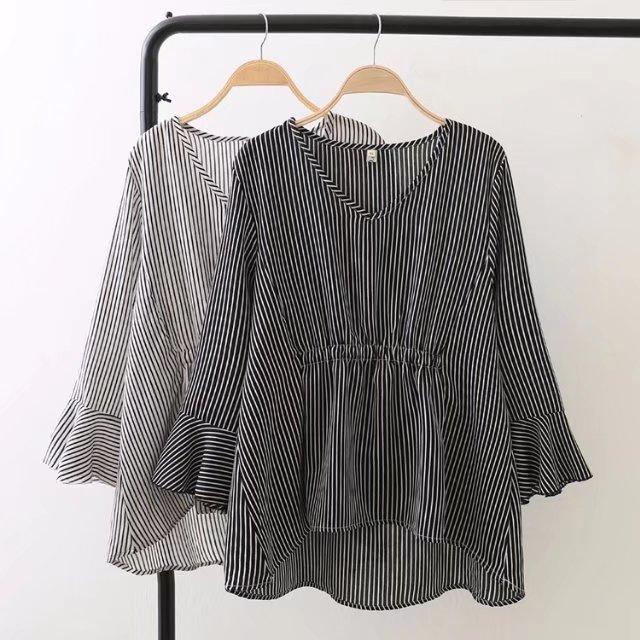 微妹妹胖MM2018春装新款加肥加大码女装200斤宽松条纹衬衫娃娃衫
