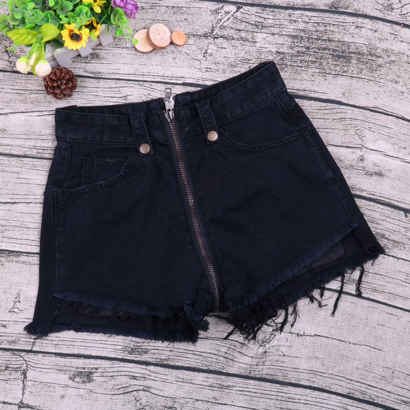 Korean style dress zipper Black Denim Shorts womens loose big size show thin burr wide leg pants short in front and long in back