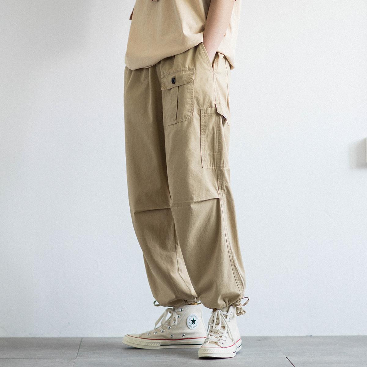 EpicSocotra日系法式寬松束腳工裝褲 夏季直筒九分褲燈籠褲男女潮