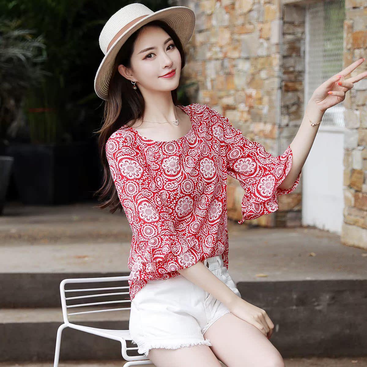 雪纺衫短袖女夏季2018新款修身遮肚子洋气小衫女波点碎花上衣女装