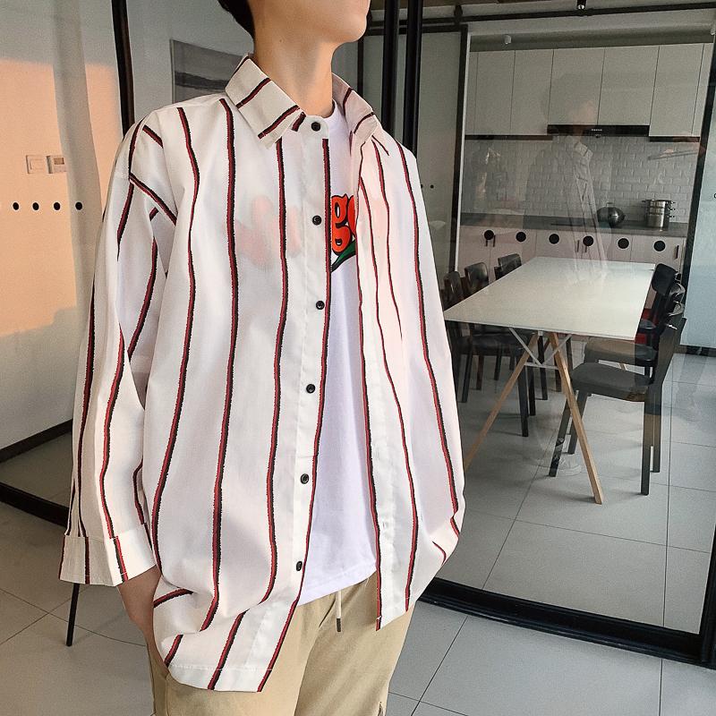 2020港风新款男士条纹款式大码七分袖衬衫 红色 CS03-P40