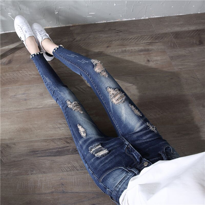 2019新款女士牛仔裤春韩版修身高腰小脚铅笔破洞显瘦紧身九分裤夏