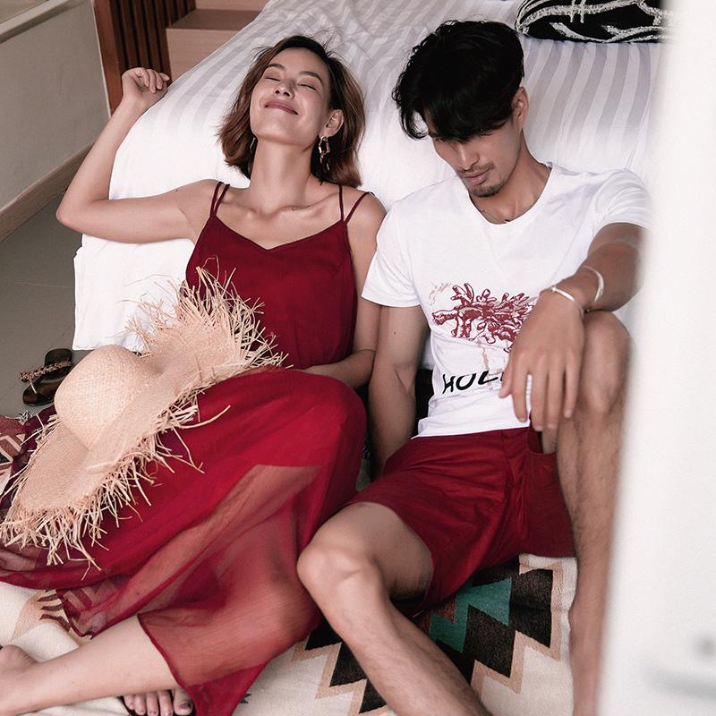 蜜月情侣装夏装2018新款红色情侣款连衣裙女沙滩海边度假气质套装