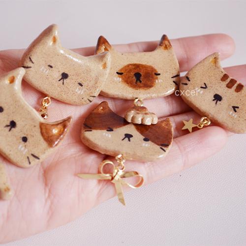 可爱的五只小猫 原创设计 手作粘土胸针 陈小船儿
