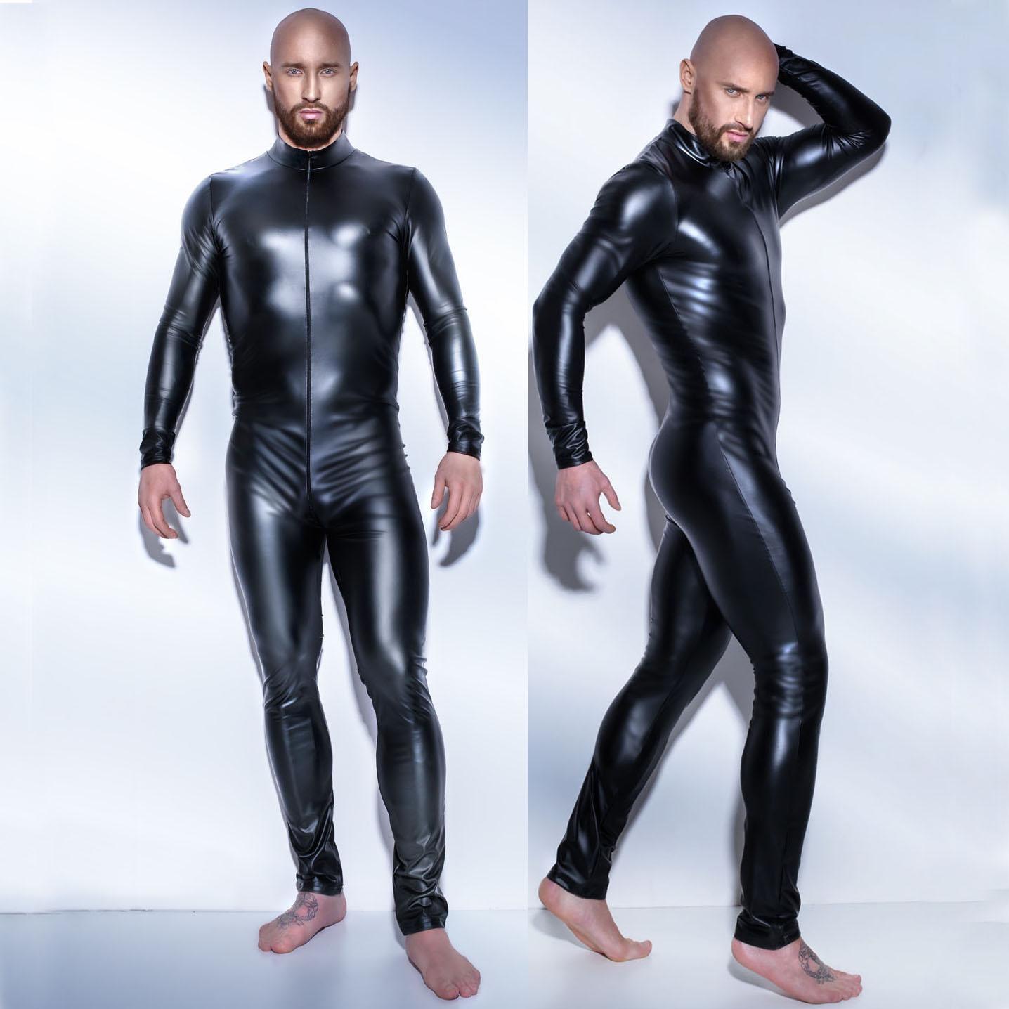欧美男士黑色皮革连体紧身游戏制服夜店派对DS肌肉男模舞台走秀服