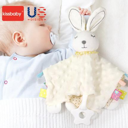 美国kissbaby宝宝安抚巾可入口婴儿玩具0-1玩偶安抚宝宝睡觉神器