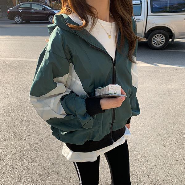 日本代购SLY女装2020春款减龄拼接棒球服休闲连帽运动夹克外套女
