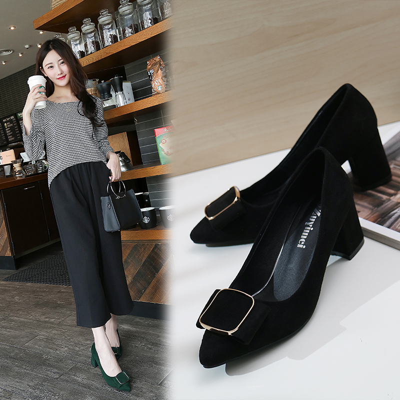 Spring 2020 new thick heel high heels womens Suede nude single shoes versatile black elegant professional work shoes
