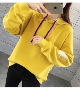 2019秋冬款女长袖连帽糖果色棉卫衣