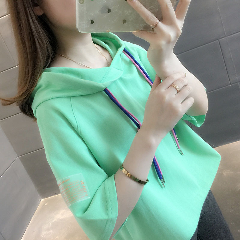 春秋薄款女短袖半袖夏季五分袖连帽卫衣韩版新款纯色宽松学生上衣