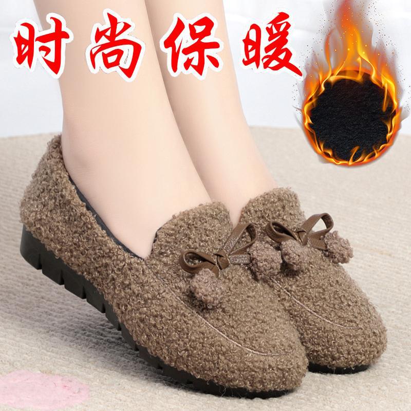 冬季老北京布鞋软底加绒毛毛鞋新款平底懒人休闲防滑女士时尚棉鞋