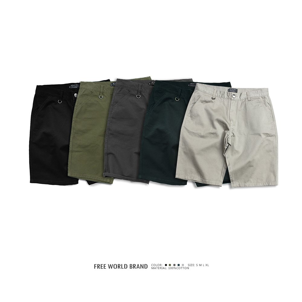 Free world 17 style all cotton double ply plain washed simple short pants