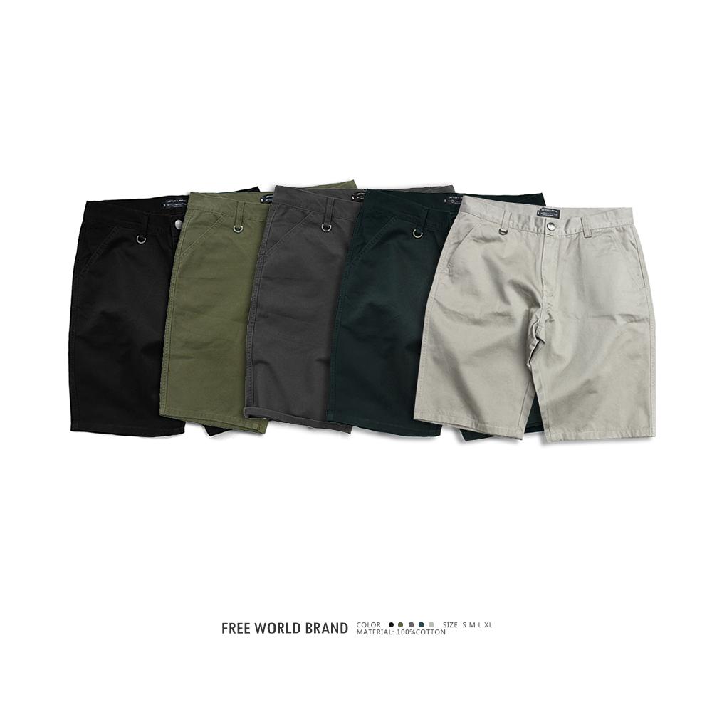 Free world 17 style cotton double plain washed simple shorts