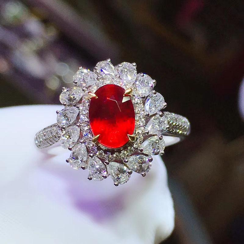 1.19ct天然无烧鸽血红红宝石戒指吊坠两用18K金钻石附国际GRS证书