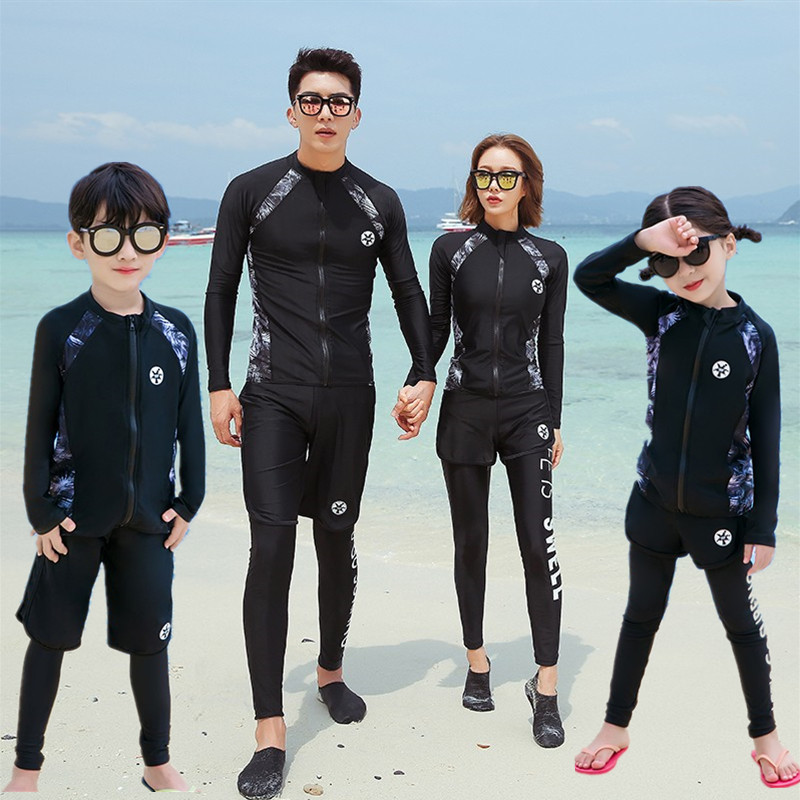 Childrens diving suit boys swimsuit split middle school childrens long sleeve trousers parent child mother child sunscreen girls swimsuit