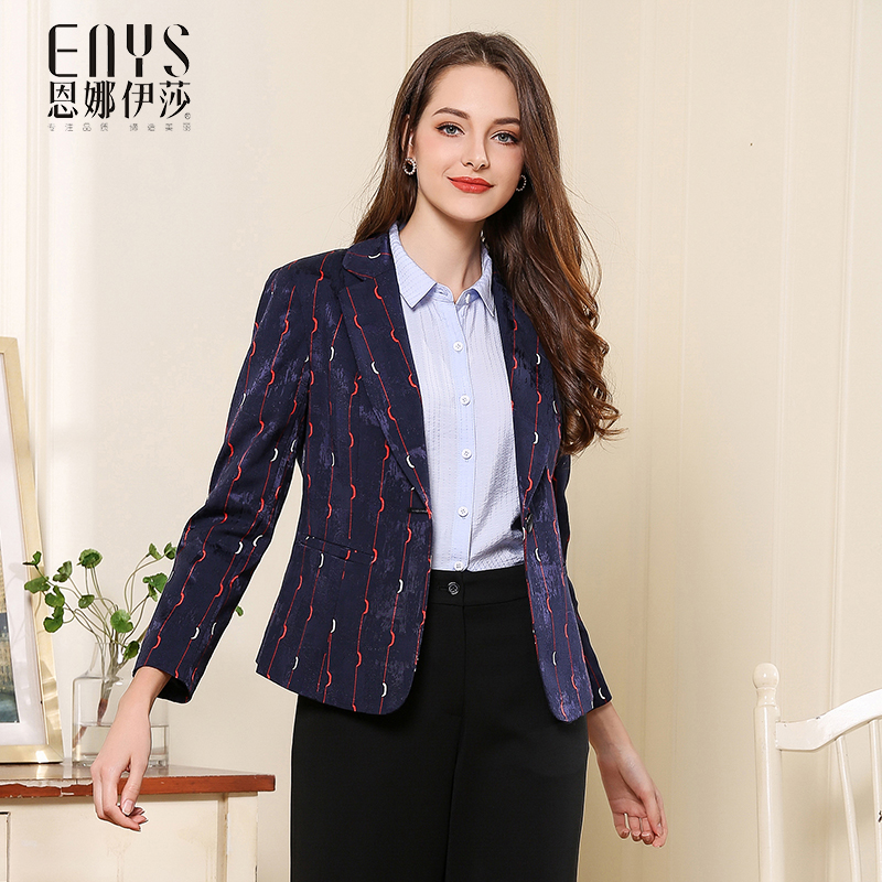 Enna Issas new fall / winter 2018 slim and simple striped Blazer Jacket Womens top sells well