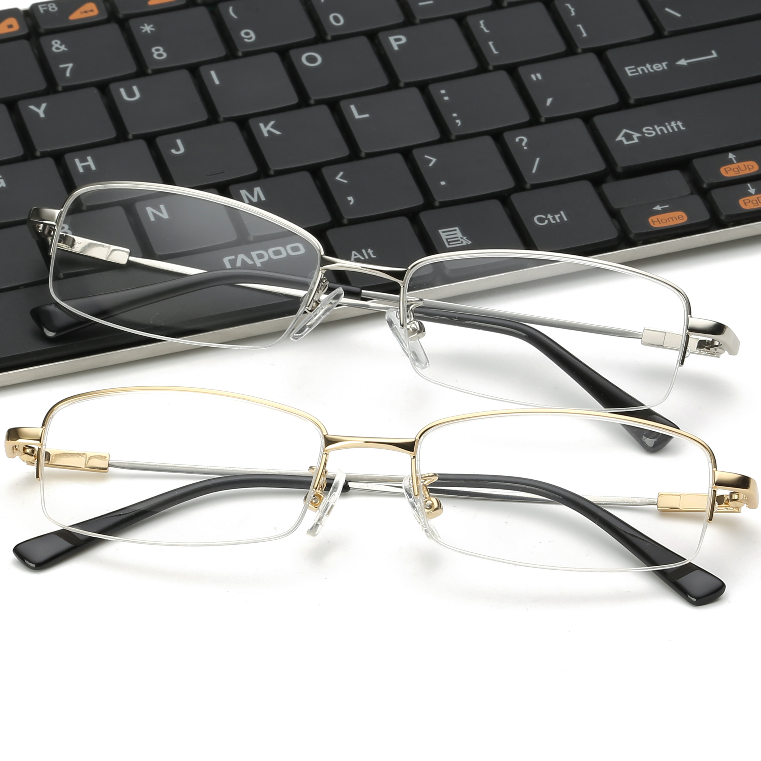 Memory mens and womens half frame with finished myopia glasses 100 / 150 / 200 / 250 / 300 / 350 / 1000 degrees