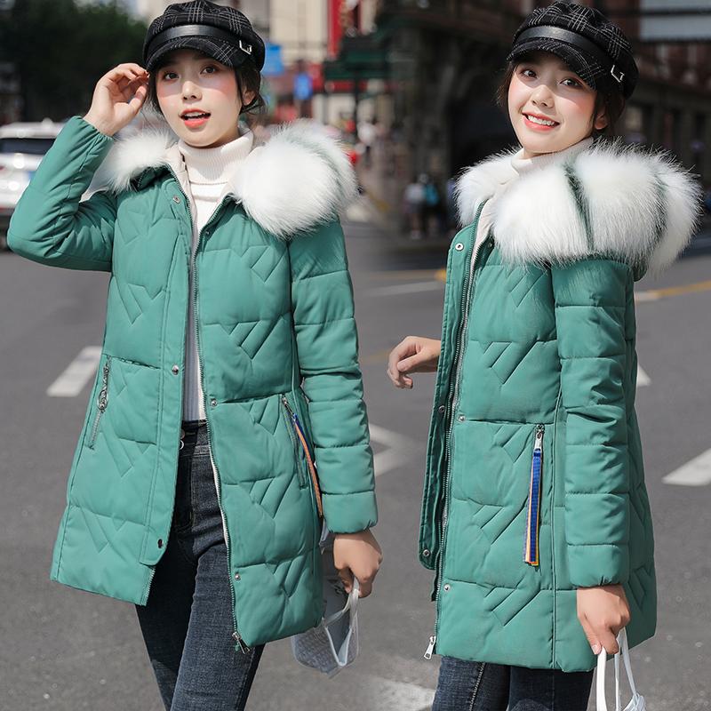 實拍大毛領羽絨棉服女2021冬韓版中長款修身加厚大碼棉襖棉衣外套