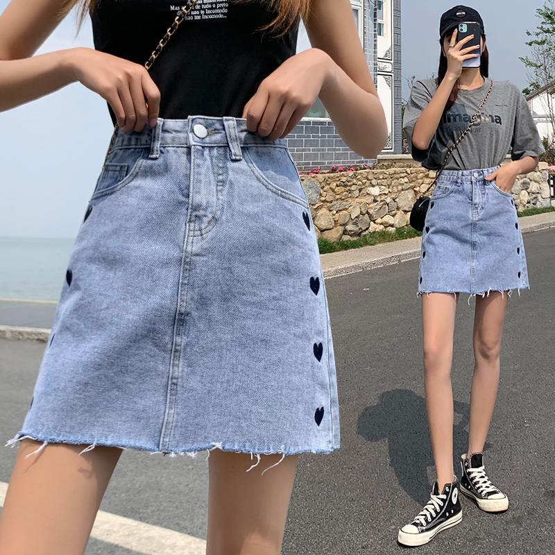 實拍刺繡愛心牛仔短裙女夏季韓版高腰顯瘦包臀半身裙子A字中裙